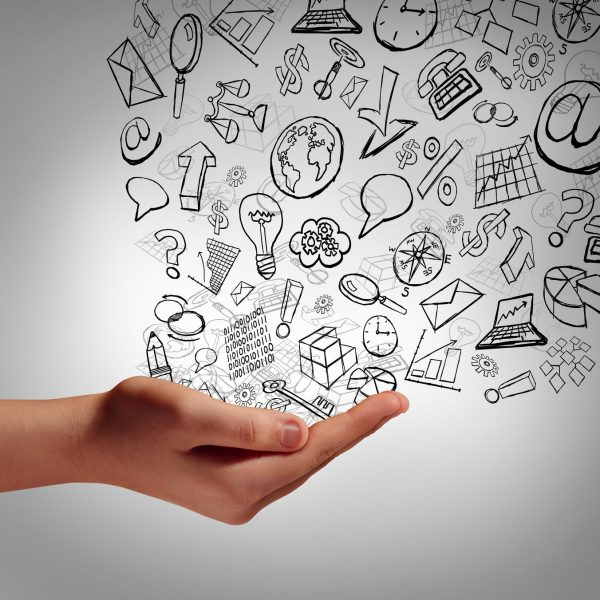 32993350 - marketing communication concept as a human hand holding business icons spreading the finanial elements upward as a symbol and metaphor for promotion advertising strategy or corporate training and education on the internet.
